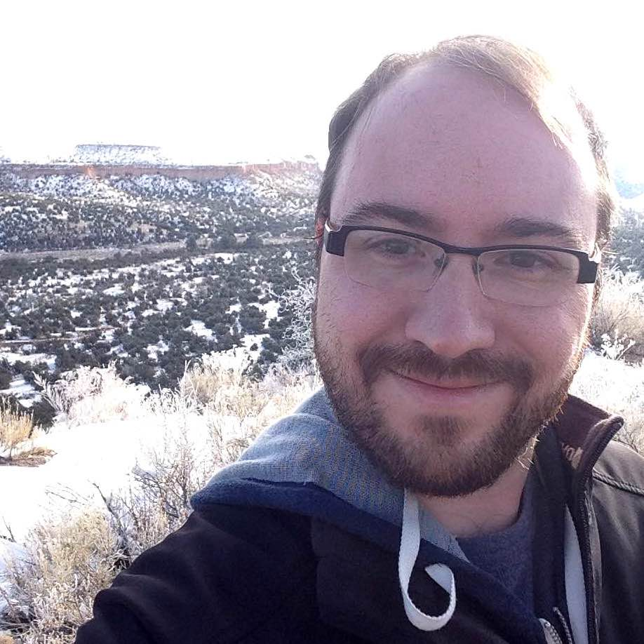 Photo of Adam near Los Alamos in the winter