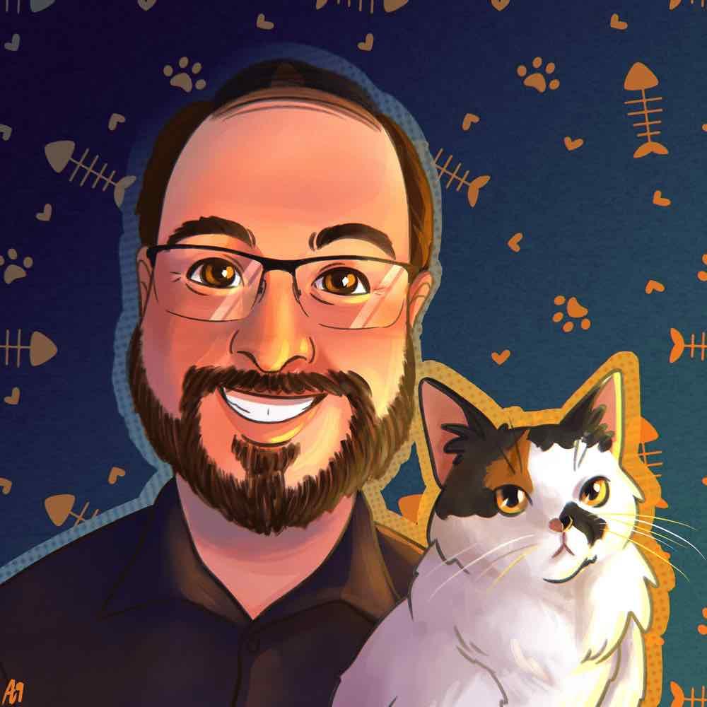 Illustration of Adam and his cat Phryne